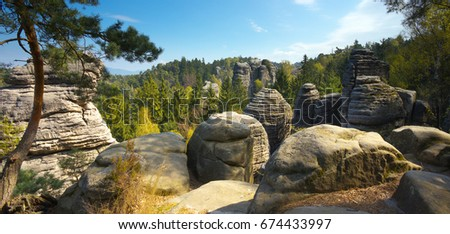 Rocky formations of sand rocks in Bohemian Paradise