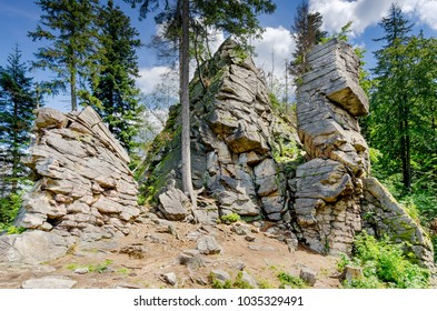 Rocky Gate, formation on Trojak mount in Golden Mountains near town of Ladek Zdroj (ger. Bad Landeck), Lower Silesia Voivodeship. Poland, Europe.