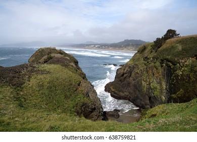 Rocky headlands near Otter Rocks,  Newport, Oregon