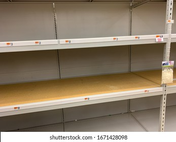 Rocky Hill, CT, USA - March 12 2020 - Big Y Supermarket with empty shelves. All toilet paper sold out as nervous shoppers hord goods because of the Coronavirus pandemic.
