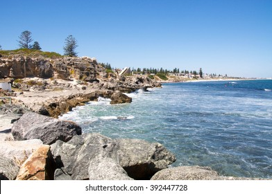 Rocky Indian Ocean coast line at South Cottesloe Beach with limestone rock formations and cliffs/South Cottesloe: Limestone Coast/Western Australia