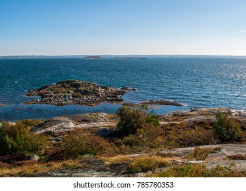 Rocky island in the Southern Gothenburg Archipelago on a clear sunny day