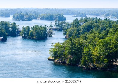 Rocky islands in the Thousand Islands region in Ontario