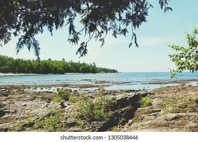 Rocky lake shore on the coast of Lake Superior