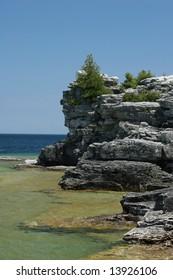 rocky lakeside landscape