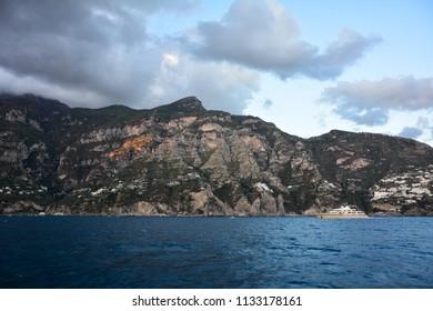 The rocky landscape of the Amalfi Coast, Italy, at sunset