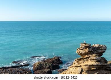 Rocky landscape in Cabo de Roche beach or Calas de Roche, located in Conil de la Frontera, in the province of Cadiz, Spain.