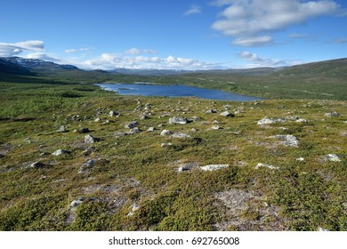 Rocky landscape with mountains in Lapland, Malla National Reserve