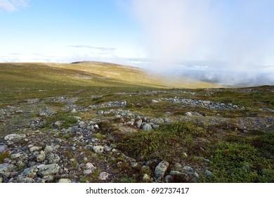 Rocky landscape with mountains in Lapland, Pallastunturi, Palkaskero