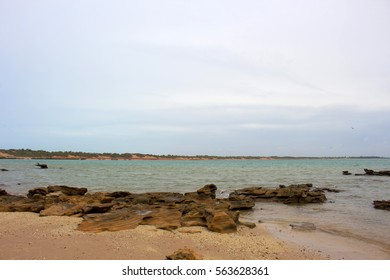 Rocky landscape near Port of Broome,Western Australia, the largest deep-water port servicing  Kimberley region ,open to shipping  24 hours  seven days a week with livestock export, offshore oil , gas.