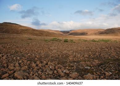 Rocky landscape on the Putorana plateau. The origins of the river Bucharama. Russia, Taimyr Peninsula.