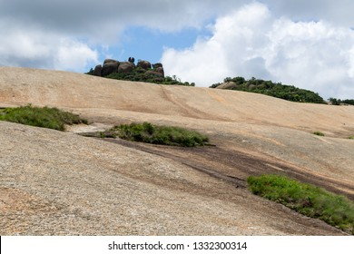 Rocky landscape in Pedra Grande Park in Atibaia, Sao Paulo, Brazil. On the top of the mountain there is a rock split in two struck by a lighting