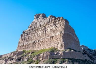 Rocky landscape scenery of Scotts Bluff National Monument, Nebraska