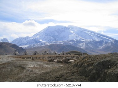 rocky landscape in the tien shan mountains in china