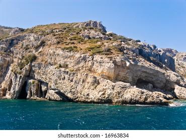 Rocky Mediterranean Beach. Samos Island, Greece.
