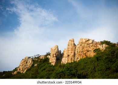 Rocky mountain with blue sky in Thailand