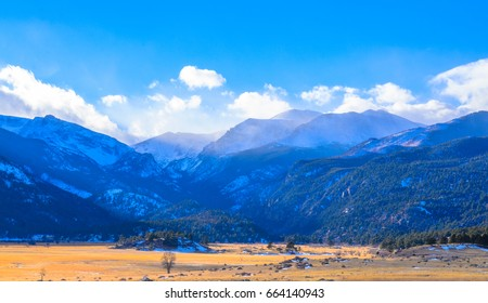 Rocky Mountain national park beautiful nature landscape in winter, Colorado