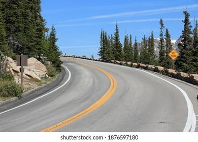 Rocky Mountain National Park in Colorado, USA. Winding mountain road.