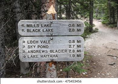 Rocky Mountain National Park in Colorado, USA. Trail signs to Mills Lake, Black Lake, Andrews Glacier and Lake Haiyaha.