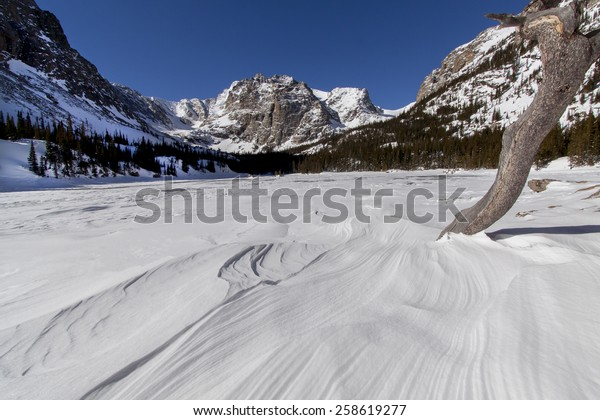 Rocky Mountain National Park - frozen Loch Vale on a cold, sunny winter morning.