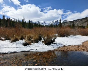 Rocky Mountain National Park snowy peaks with stream