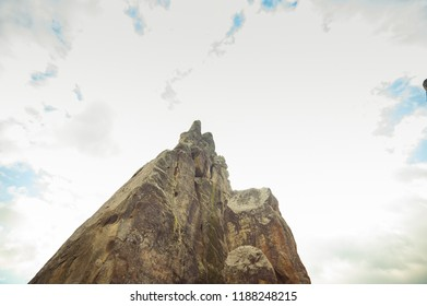 The rocky mountain peaks in the national park