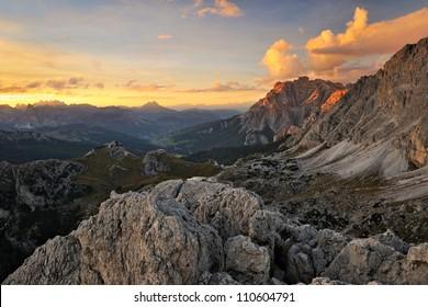 Rocky mountain scenery, Dolomites, Italy
