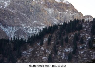 Rocky Mountainrange behind a Forest in Elm, Switzerland