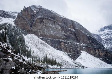 Rocky Mountains by glacial lake