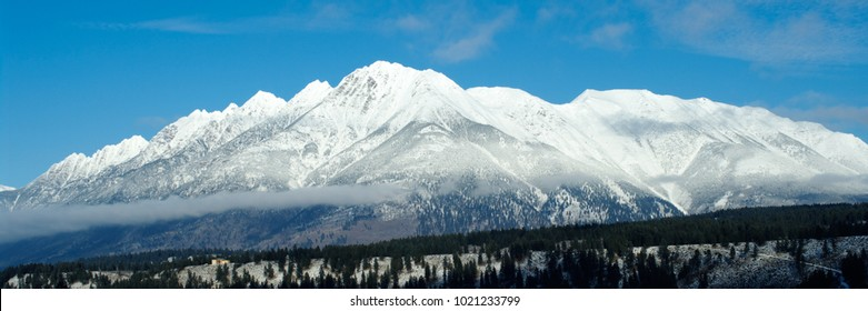 Rocky Mountains covered in snow near Cranbrook, British Columbia, Canada