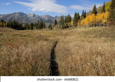 Rocky Mountains in the fall with blue sky and clouds