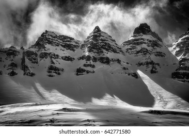 Rocky mountains in Iceland / Rocky Mountains/ Tree picks high mountains in black and white, Iceland