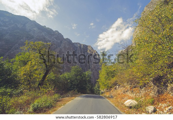 Rocky Mountains Landscape with sunny sky with clouds. Beautiful Caucasus nature. Azerbaijan Guba