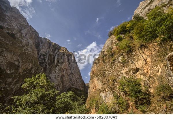 Rocky Mountains Landscape with sunny sky with clouds. Beautiful Caucasus nature. Azerbaijan Guba
