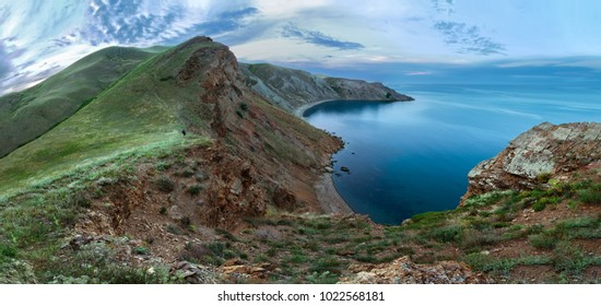 rocky mountains near the coast of the sea. Panorama of the Crimean mountains