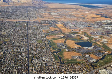 Rocky Mountains, Oquirrh range aerial views, Wasatch Front Rock from airplane. South Jordan, West Valley, Magna and Herriman, by the Great Salt Lake Utah. United States of America. USA.