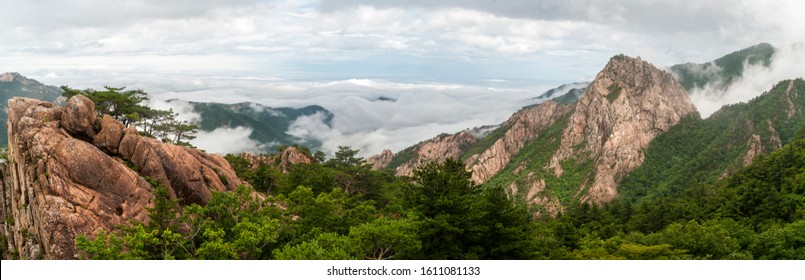 Rocky mountains and sea of clouds viewed from Seorak Mt near Sokcho-si, Korea.