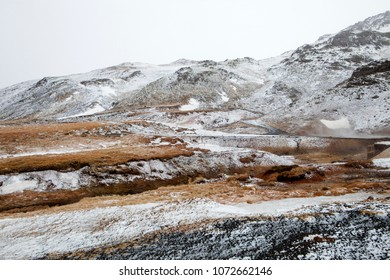 The rocky mountains at the Seltun hot spring in Iceland