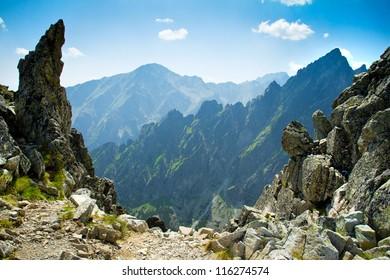 Rocky mountains view seen from Lomnicke sedlo in High Tatras, Slovakia