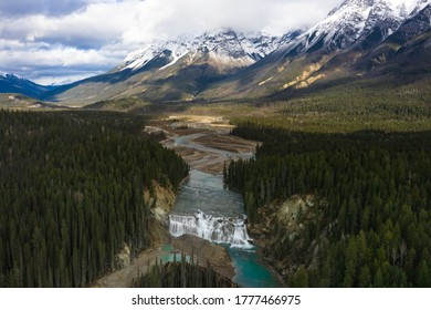 Rocky Mountains in Yoho National park with Wapta waterfall and Kicking Horse river depicting picturesque landscape viewpoint in British Columbia in Canada. Nature photography.