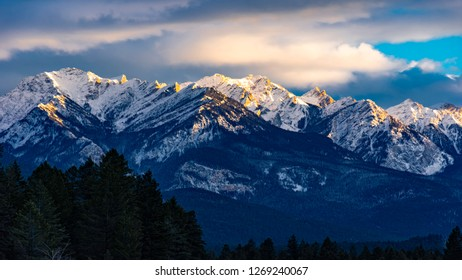The Rocky Mountans in the setting sun near Fairmont Hot Springs British Columbia Valley in the East Kootenays in the winter