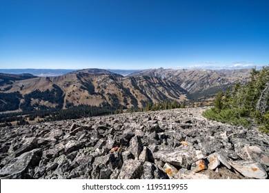 Rocky narrow  dangerous ridge of talus scree rocks on top of mountains in the Bridger Teton National Forest near Jackson Wyoming