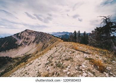 Rocky narrow ridge on top of mountains in the Bridger Teton National Forest near Jackson Wyoming