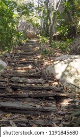 rocky natural stairway going up in colombia