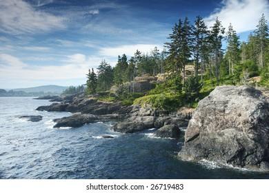 Rocky ocean coast in Canada