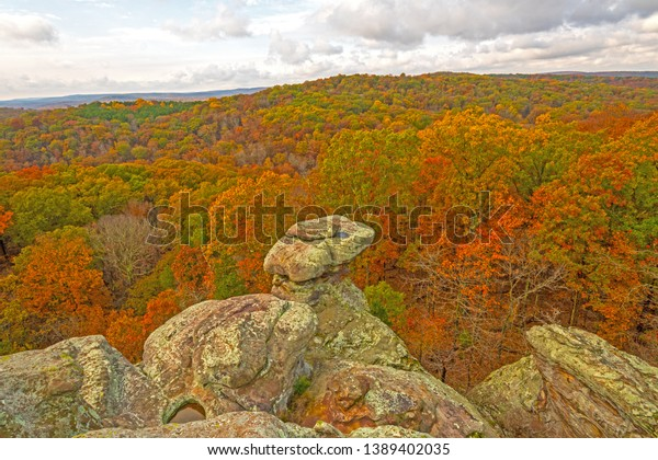 Rocky Outcrop Above Fall Forest Garden Stock Photo Edit Now 1389402035