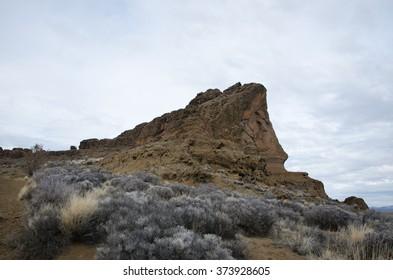 A rocky outcrop in the desert