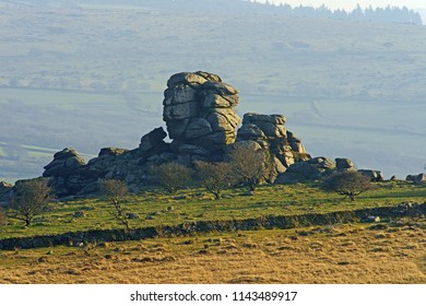 The rocky outcrop known as Vixen Tor at sunset, Dartmoor National Park, Devon