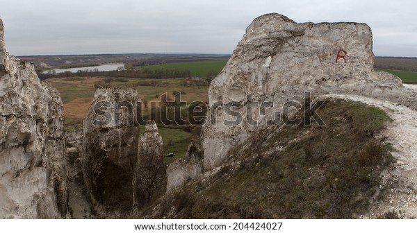 The rocky outcrop is located in the Upper Cretaceous of the Constantine region Donetsk region near the village Belokuzminovka Ukraine