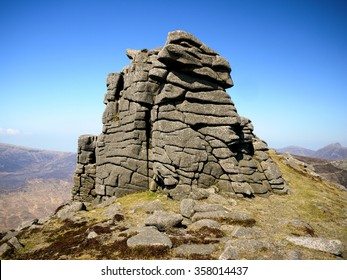 Rocky outcrop on Slieve Binnian, Mourne Mountains, County Down, Northern Ireland.